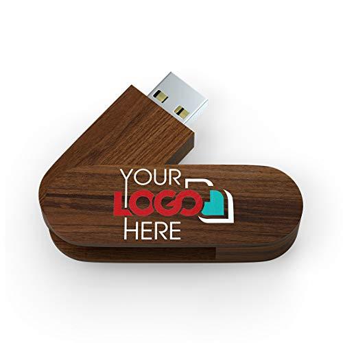 Possibox Memoria USB Personalizada 32GB Giratoria de Madera para Publicidad Pendrive con Logotipo/Texto - al por Mayor - USB 3.0 Nuez, 1000 Piezas