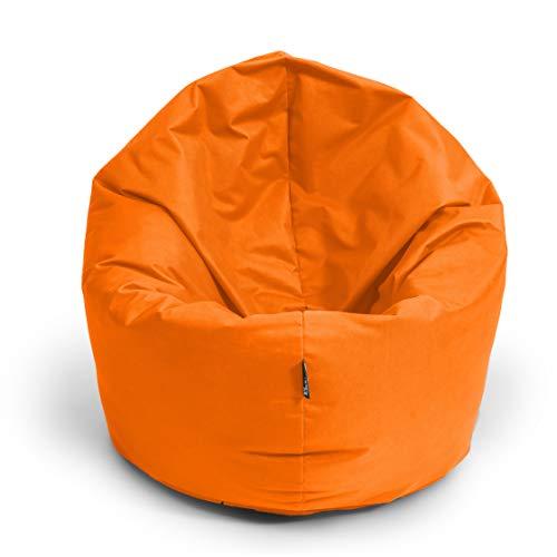 BuBiBag Sitzsack L - XXL 2 in 1 mit Füllung Sitzkissen Topfenform Bodenkissen Kissen Sessel BeanBag (125 cm Durchmesser, orange)