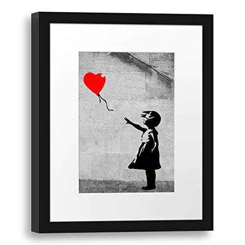 Printed Paintings Passepartout (30x38cm): Banksy - Balloon Girl (Mädchen mit Luftballon) Street A