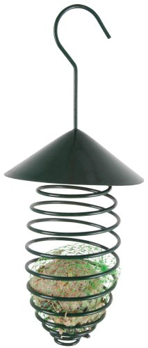 Esschert Design Futterfeder mit Dach aus Metall, zum Aufhängen, Gefäß für Futterbälle, Futterkugeln, ca. 24 cm hoch