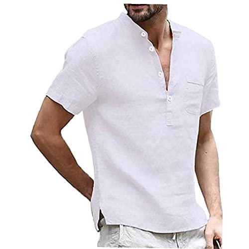 Sanfiyya Camisa de algodón de Lino Henley de los Hombres - Casual Corta/Larga botón de la Manga del Hippie hasta la Playa T Shirts