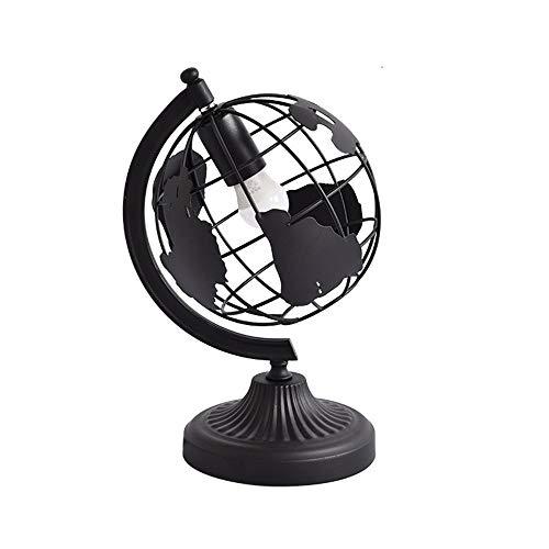 Globe met houder, tafellamp van smeedijzer, kinderschool, leeslamp, oogbescherming, leren, slaapkamer, woonkamer, eetkamer, decoratie, geschenk licht, Size, Charm black