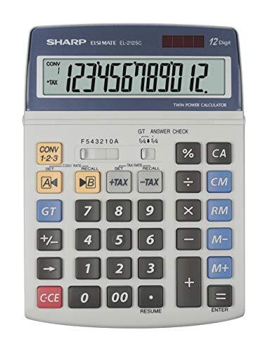 Sharp EL-2125C Tischrechner (12 Stellen, Steuerberechnungsfunktion) weiß