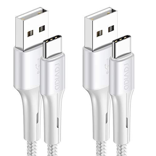 RAVIAD Cable USB Tipo C, [2Pack 2M] Cargador Tipo C Carga Rápida y Sincronización Cable USB C para Galaxy S20/S10/S9/S8/M51/M31/M21/Note 10/Note 9, Huawei P40/P30/P20, Redmi Note 9 Pro/9/8 - Plata