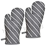 Yellow Weaves™ 100% Cotton Heat Proof Microwave Oven Gloves, GreyColour, (Pack of 2)