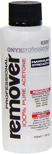 Onyx Professional 100% Acetone Nail Polish Remover 4 oz - Removes Artificial Nails, Nail Polish, Nail Glue & Glitter Polish