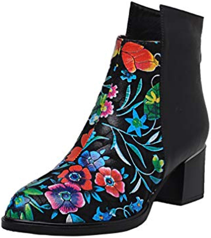 Woherrar mode Ankle stövlar Round Round Round Toe Zip Genuine läder stövlar Square Heel Ladies Prom stövlar  handla online idag