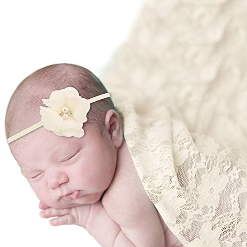Baby Photo Props Lace Wrap with 2 pcs Headbands Set, Professional Newborn Photography Props Floral Long Ripple Wrap (Cream)