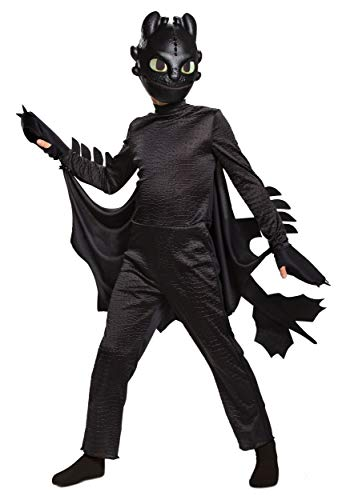 Disguise Toothless How to Train Your Dragon Hidden World Deluxe Boys' Costume Black, M (7-8)