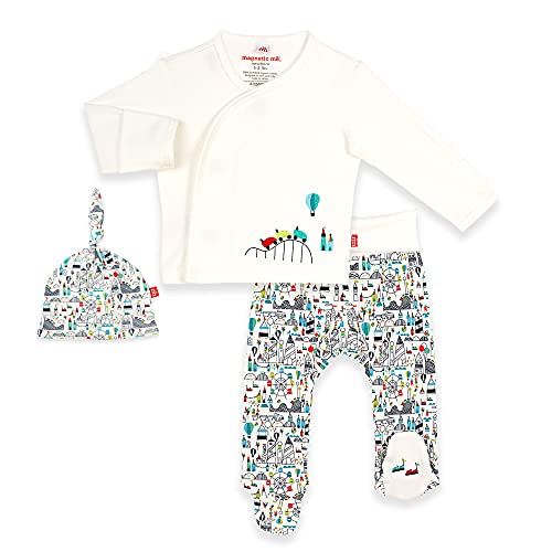 Magnetic Me 100% Organic Cotton Magnetic Kimono Baby Clothing Outfit 3-Piece Set Shirt, Footed Pants, Hat Fun Fair Preemie