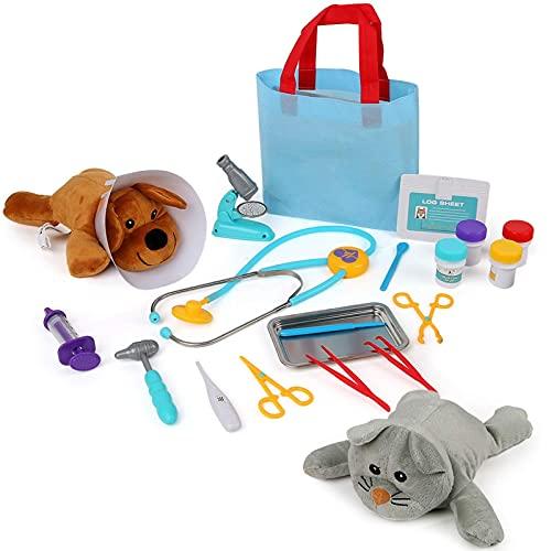 Maletín médico para niños, juguete médico, juego de 21 piezas, juego educativo, veterinaria, juguete médico, regalo para niños y niñas a partir de 3 años