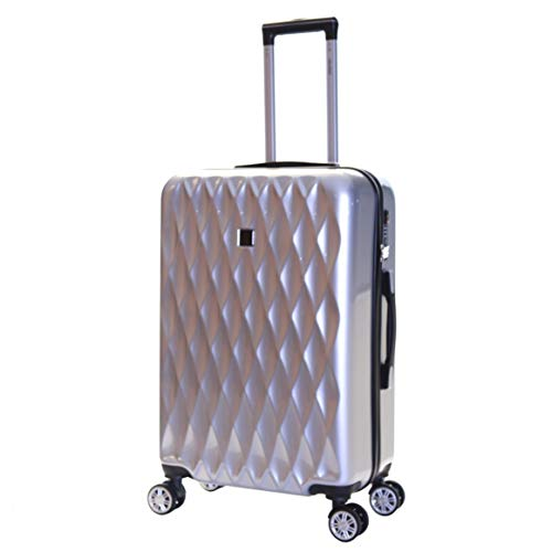 Karabar Hard Shell Medium Large Suitcase Luggage Bag 66 cm 3.4 kg 65 litres Polycarbonate PC with 4 Spinner Wheels and Integrated TSA Number Lock, Diamond Silver
