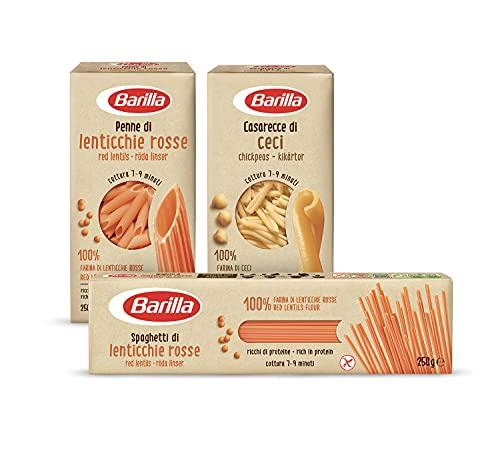 Barilla Pasta di Legumi Spaghetti di Lenticchie Rosse, Ricche di Fibre e Proteine, Senza glutine, 250 gr + Pasta d Legumi Caserecced di Ceci + Pasta di Legumi Penne di Lenticchie Rosse