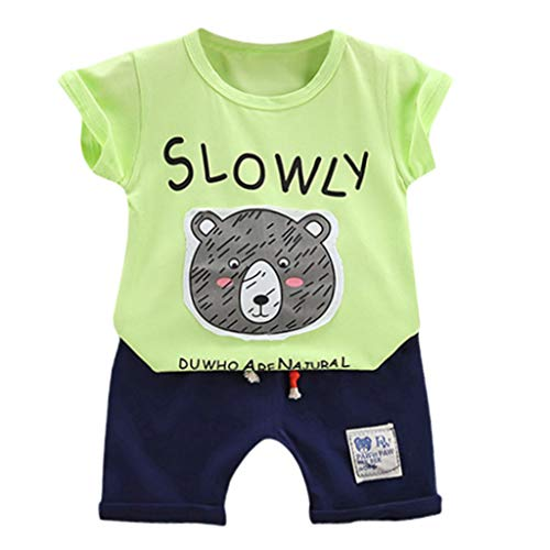 Julhold Bambino Bambini Neonato Cartoon T-Shirt in Cotone Top Pantaloncini Pantaloni 2 Pezzi Abbigliamento Outfit Set 0-5Anni