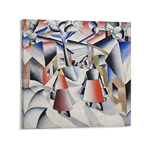 Póster artístico de la mañana en el pueblo después de la tormenta de nieve Kazimir Malevich pintor ruso lienzo y arte de la pared impresión moderna de la habitación familiar carteles de 30 x 30 cm