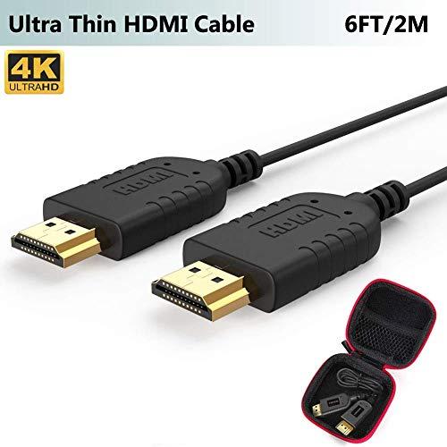 Ultra Dünn HDMI Kabel, Extrem Slim & Super Flexibel HDMI Cable 2M, Weltweit Dünnstes HDMI Kabel Unterstützt 4K@30Hz, 2K, 1080P, 3D, Ethernet, ARC, HDR Kompatibel mit PS3,PS4, Xbox One, HDTV,PC,Laptop
