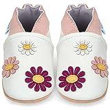 Juicy Bumbles Chaussures Bébé - Chaussons Bébé Cuir Souple - Pâquerettes 12-18 Mois