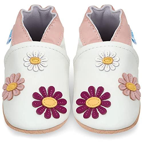 Juicy Bumbles Chaussures Bébé - Chaussons Bébé Cuir Souple - Pâquerettes 0-6 Mois