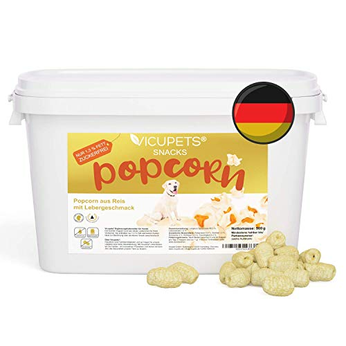 Vicupets Popcorn für Hunde 500g I Kalorienarmes Leckerli I Nur 1,3% Fett I Hunde Popcorn Snack I Ideal als Trainingstreat zur Belohnung I Getreidefreier Snack