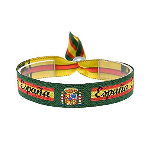 BDM Pulsera de la Bandera de España con el Escudo Nacional y Fondo en Color...