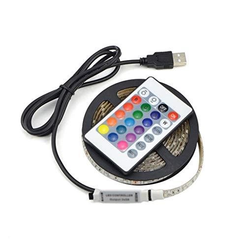 DSFEOIGY USB RGB LED Luz de Tira 5V 2835 2m 4m 5m LED Cinta de Cinta TV Fondo de Fondo Iluminación Luz de decoración for el hogar con Control Remoto (Size : 4 m)