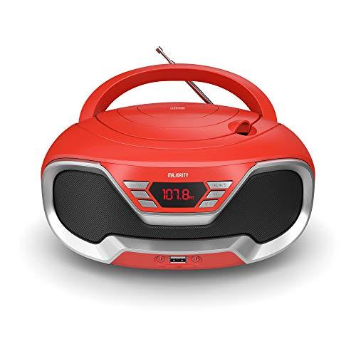 Majority Eaton – Radio Cassette Reproductor CD portátil, Bluetooth, Radio FM, Conector AUX 3,5 mm y USB, Equipo de música con Cable y Pilas, con Altavoces estéreo, para Adultos y niños (Rojo)