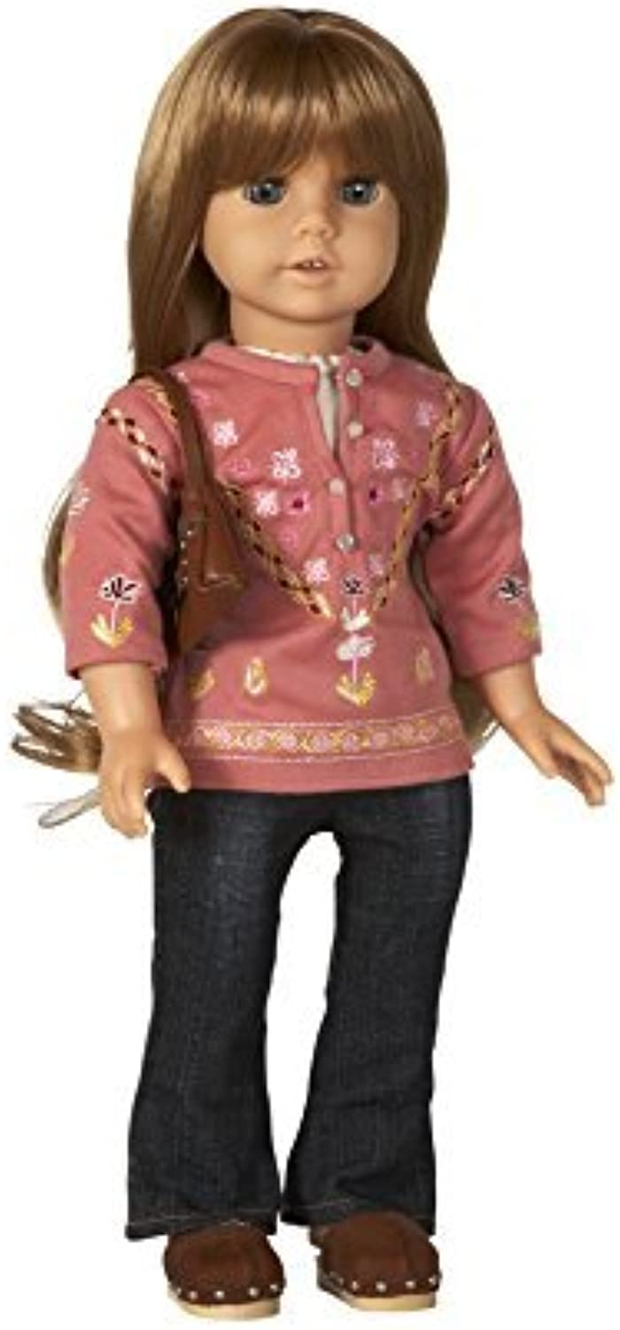 Embroidered Pink Tunic and Jeans. COMPLETE Outfit with shoes. Fits 18 Dolls like American Girl by Diana Collection