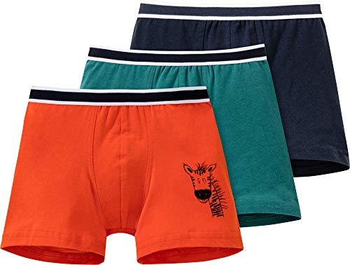 Schiesser Jungen-Pants Natural Love 3er-Pack grün/Marine/orange Größe 140