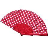 LALY A SHOP 9 Colores Elegantes Ventiladores españoles de plástico a Mano Lunares japonesesAbanico Plegable aManoRegalosespectáculo Flamenco, D
