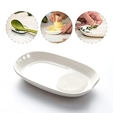 3-in-1 Ceramic Ginger Grater Spoon Rest Herb Stripper - Porcelain Grater Plate for Ginger, Garlic, Onion and More - Easy to Clean and Storage - by Kitchendao