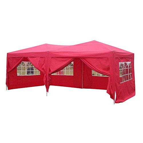 Homdox Tenda Gazebo Padiglione Pieghevoli Impermeabile 3M * 6M con Pannelli Laterali Finestra , Eventi, Matrimonio in Giardino in Acciaio Rivestito a Polvere Rosso