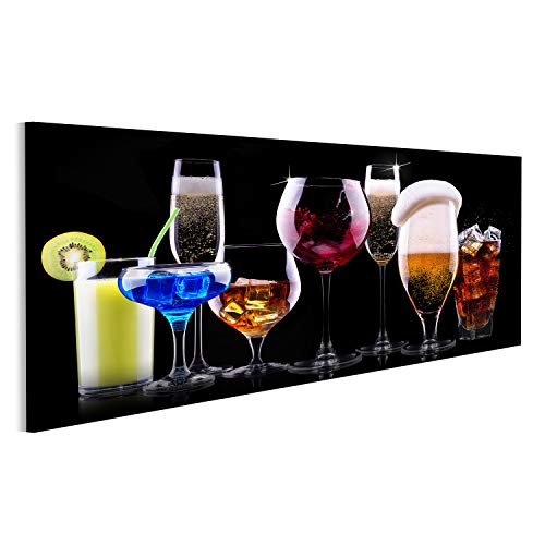 bilderfelix® Bild auf Leinwand Verschiedene alkoholische Getränke - Bier, Wein, Cocktail, Saft, Champagner, Scotch, Soda Wandbild, Poster, Leinwandbild NNS