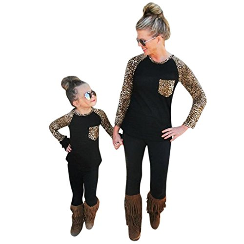 Franterd Mommy & Me Women Girls Parent-Child Leopard Shirt Tops Family Matching Clothes Outfits (Leopard, Mom XL)