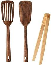 أمادج 3 قطع أدوات الطبخ الخشبية أدوات المطبخ ، تشمل قطعتين من ملاعق الطبخ من خشب الساج الطبيعي لأدوات الطبخ غير الالتصاق، ...