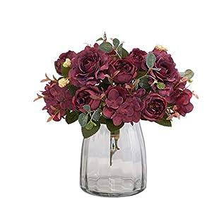 KARORO 2 Packs Artificial Flowers Fake Peony Silk Hydrangea Bouquet Decor Faux Plastic Camellia Vivid Realistic Flower Arrangements Wedding Decoration Table Centerpieces (Wine red)