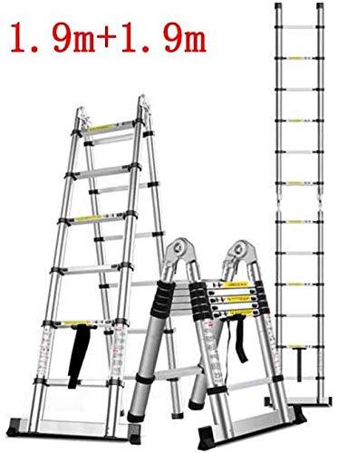Lsmaa Telescopische ladder huis bamboe binnenin engineering plooien visgraat-rechte dubbele ladder multifunctionele aluminiumlegering badkamerstoel (grootte: 1.9m + 1.9m)