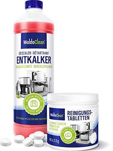 Pflegeset 750ml Entkalker und 40x Reinigungstabletten - Reinigungsset kompatibel mit sämtlichen Marken