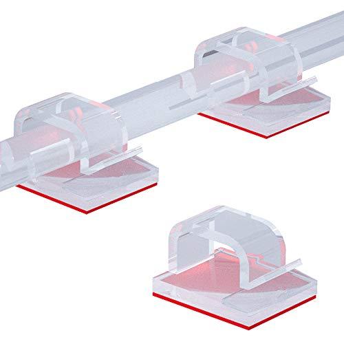 50 Stück Kabelhalter Selbstklebend, Kabelschellen Kabelclips Hochviskose Kabelklemmen Schreibtisch Organizer Kabelmanagement Kabelführung für Ladekabel Wand Desk(Transparent)