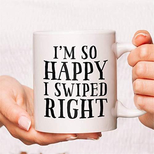 Estoy tan feliz que pasé a la derecha Taza de café, Taza de novio, Taza de novia, Taza de café para novio, Taza de café para novia