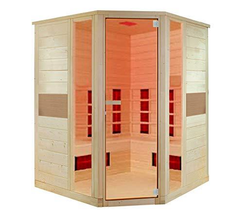 Interline Infrarotkabine Ruby 127x127 cm für 2 Personen aus Hemlock Holz Wärmekabine Infrarotsauna Saunakabine Sauna Infrarot mit Zubehör