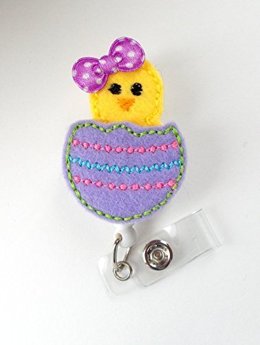 Easter Chick Purple - Retractable Id Felt Badge Holder - Pediatric Badge Reel - Nurses Badge Holder - Nurse Badge - Teacher Badge - Np Badge - The Badge Shack - Alligator Clip