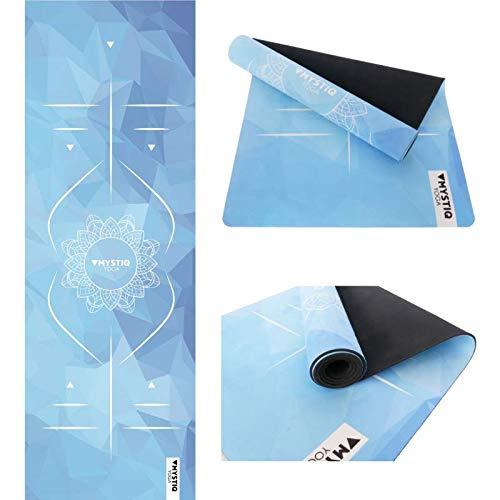 Tapis de Yoga Pro | en Caoutchouc Naturel & Microfibre | Épais 5.5mm & Grand 183x61cm | Anti-Dérapant & Écologique | Tapis Pilates, Fitness, Bikram & Gym | Sangle Voyage Incluse (MANDALIGN I - Blue)