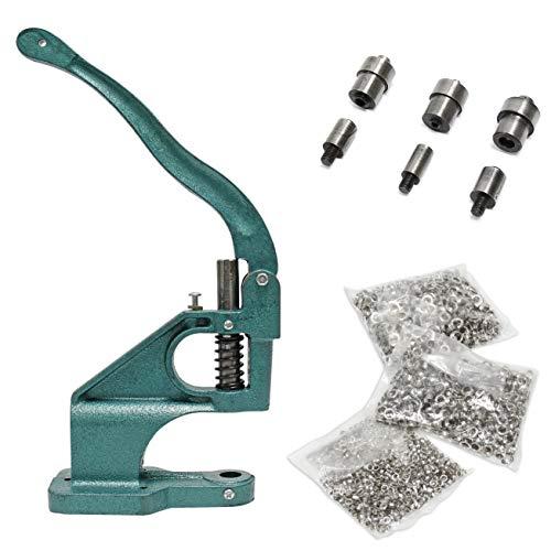 Signstek Nietenpresse Ösmaschine Handpresse1500 Pcs Manual Punch Kit Grommet Tool mit 3 Die Kit (#0, 2, 4)
