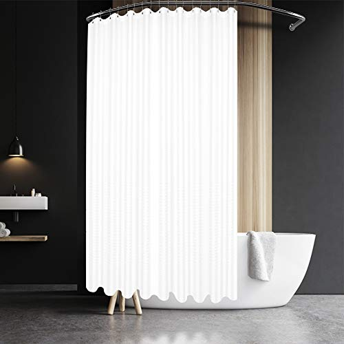 Extra Wide Fabric Shower Curtain 108 x 72 inch, Waffle Weave, Hotel Luxury Spa, Water Repellent, Washable, Spa, 230 GSM Heavy Duty, White Pique Pattern Decorative Bathroom Curtain, 18 Holes