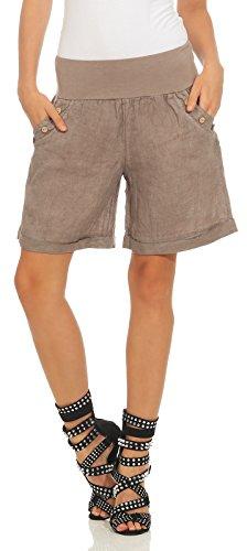 Mississhop 280 Damen Leinenshorts Bermuda lockere Kurze Hose Freizeithose 100% Leinen Shorts mit DREI Knöpfen Sommer Strand Fango XL