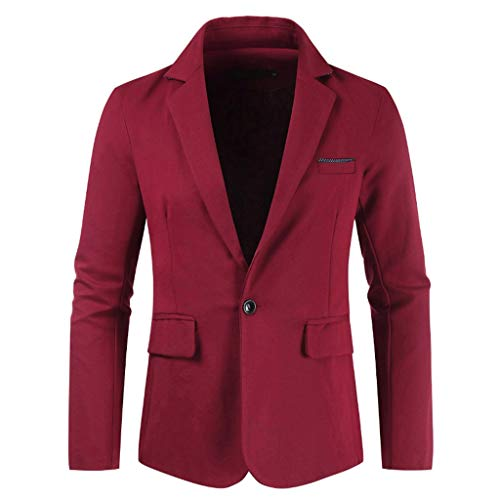 Check Out This Men's New Body-Building Pure-Color Suit Blazer Business Jacket Weddings Prom Party Lightweight Sports Coat Red