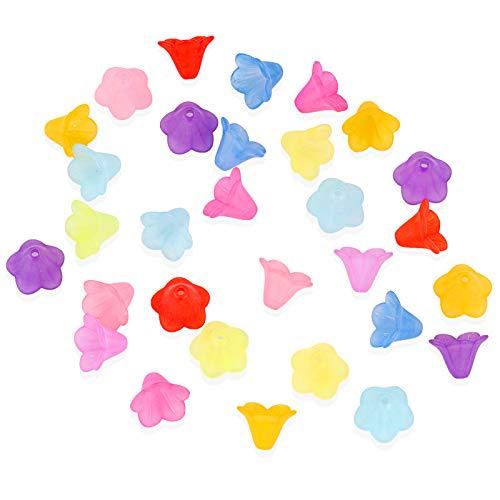 200 Stücke Blütenkelche Blüten Perlen Acryl 14mm für Engelanhänger Blütenfeen Blumen Spacer Perlen Beads zum Basteln
