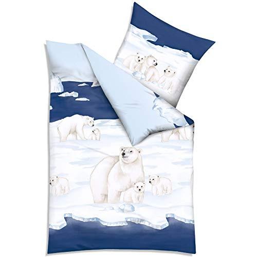 Unbekannt Kaeppel Biber Bettwäsche Nordpol blau 1 x 80x80 + 1 x 135x200 cm