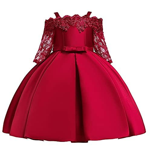 WAWALI Vestido de encaje de manga larga para niñas, vestido de dama de honor, vestido de fiesta de boda, vestidos de baile de fin de curso, correas de hombro de 3 a 10 años, granate, 6-7 Años