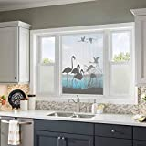 MDOUWoo Glue-Free Window Film Animal Shadow Decor Collection,Flamingo Silhouettes and Waterfront Walking Animals Design,Black Blue Turquoise 17.5x78.7inch Window Film Sun Blocking